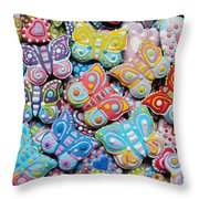 Unique Colorful Honey Cookies , Butterfly Shaped  Throw Pillow