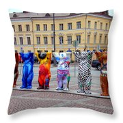 United Buddy Bear Statues At Helsinkis Senate Square Throw Pillow