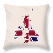 United Kingdom Map Art With Flag Design Throw Pillow