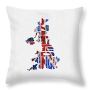United Kingdom Typographic Kingdom Throw Pillow