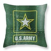 United States Army Logo On Green Steel Tank Throw Pillow