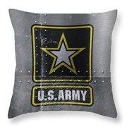 United States Army Logo On Steel Throw Pillow