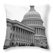 United States Capitol Building 4 Bw Throw Pillow