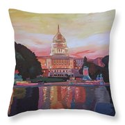 United States Capitol In Washington D.c. At Sunset Throw Pillow