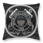 United States Coast Guard Emblem Polished Granite Throw Pillow