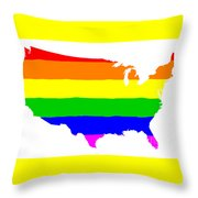 United States Gay Pride Flag Throw Pillow