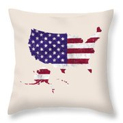 United States Map Art With Flag Design Throw Pillow
