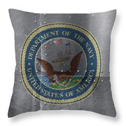 United States Navy Logo On Riveted Steel Boat Side Throw Pillow