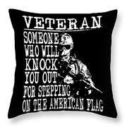 United States Proud Veteran American Throw Pillow
