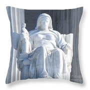 United States Supreme Court, The Contemplation Of Justice Statue, Washington, Dc 2 Throw Pillow