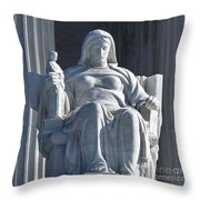 United States Supreme Court, The Contemplation Of Justice Statue, Washington, Dc 3 Throw Pillow