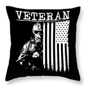 United States Veteran Flag And Soldier Throw Pillow