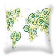 University Of Alberta Colors Swirl Map Of The World Atlas Throw Pillow