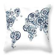 University Of British Colombia Colors Swirl Map Of The World Atl Throw Pillow