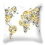 University Of California Berkeley Colors Swirl Map Of The World  Throw Pillow