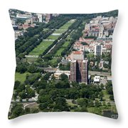 University Of Chicago Booth School Of Business And Midway Plaisance Park Aerial Photo Throw Pillow