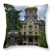 University Of Notre Dame Main Building Throw Pillow