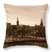 University Of Tampa With River - Sepia Throw Pillow