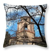 University Tower Mason Hall - Pomona College - Framed By Trees Throw Pillow