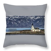 Unjarga-nesseby Church In Arctic Norway Throw Pillow