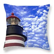 Unmistakable In Any Weather - West Quoddy Head Lighthouse Throw Pillow