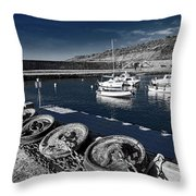 Unplugged At The Harbour - Toned Throw Pillow