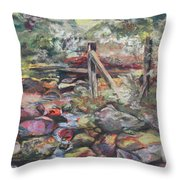 Unseated On Trout Brook Throw Pillow