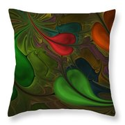 Untitled 1-26-10 Orang And Green Throw Pillow