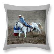 Barrel Racer Five Throw Pillow