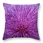 Up Close On Musk Thistle Bloom Throw Pillow