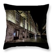 Up Lighting On A European Building At Night  Throw Pillow