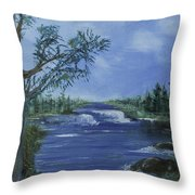 Landscape With Waterfall Throw Pillow