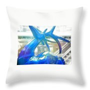 Up On The Rooftop Blue Throw Pillow