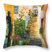 Up The Stone Staircase Throw Pillow