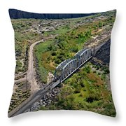 Up Tracks Cross The Mojave River Throw Pillow by Jim Thompson