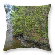 Upper And Middle Falls At Mine Kill State Park Throw Pillow
