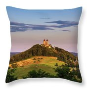 Upper Church With Two Towers In Banska Stiavnica, Slovakia Throw Pillow
