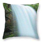 Upper Cullasaja Dry Falls In North Carolina Panorama Throw Pillow by Ranjay Mitra