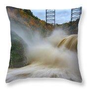 Upper Falls After A Storm Throw Pillow