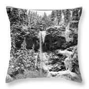 Upper Falls In Snow's Cover Throw Pillow
