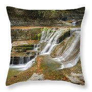 Upper Gorge Falls Of Enfield Glen In Treman State Park Throw Pillow
