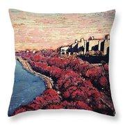 Upper Manhattan Along The Hudson River Throw Pillow