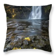 Upper North Falls In Autumn Throw Pillow