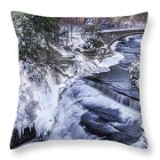 Upper Taughannock Winter Throw Pillow