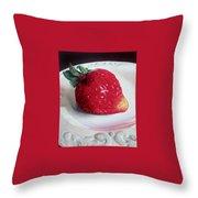 Uptown Strawberry Girl Throw Pillow
