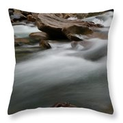 Upturned Rock In A Flowing Stream Throw Pillow