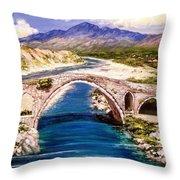 Ura E Mesit - Location Shkoder Albania Throw Pillow