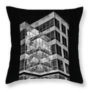 Urban Abstract - Mirrored High-rise Building In Black And White Throw Pillow