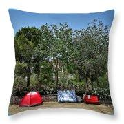 Urban Camping Throw Pillow