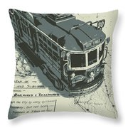 Urban Trams And Old Maps Throw Pillow